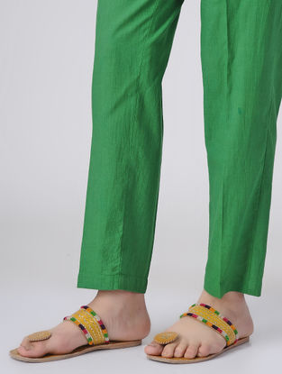 Green Dyed Elasticated Waist Cotton Pants