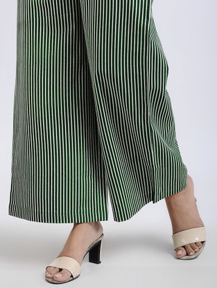 Green Striped Elasticated Waist Flax Cotton Palazzos