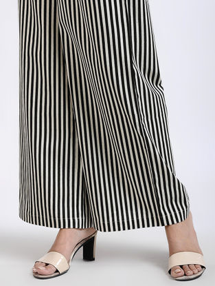 Black Striped Elasticated Waist Flax Cotton Palazzos