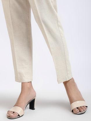 Ivory Elasticated Waist Flax Cotton Pants