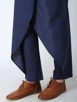 Blue Elasticated-waist Cotton Flax Pants