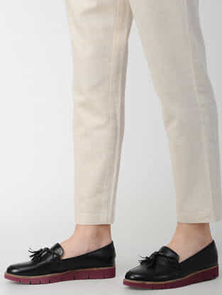 Ivory Elasticated-waist Cotton Flax Pants