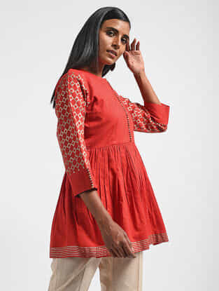 Red Block-printed Cotton Mul Top