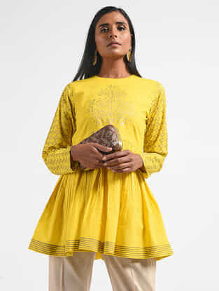 Yellow Block-printed Cotton Mul Top