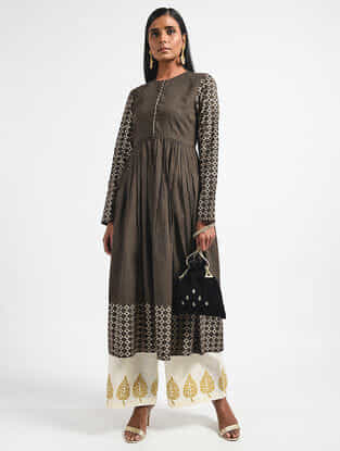 Brown-Black Block-printed Cotton Mul Kurta
