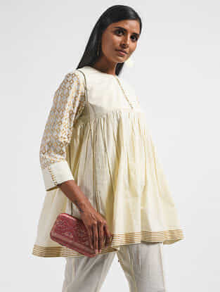 Ivory Block-printed Cotton Mul Top