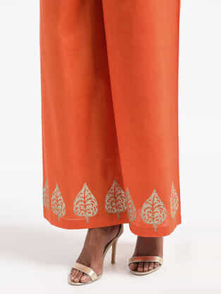 Orange Block-printed Cotton Mul Palazzos