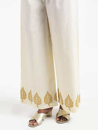 Ivory Block-printed Cotton Mul Palazzos