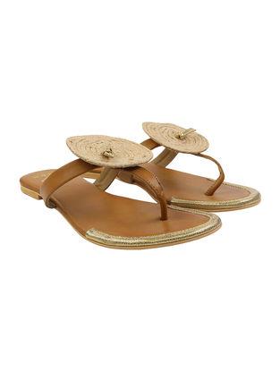 Tan-Beige Leather Flats