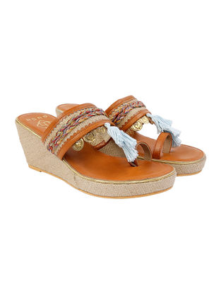 Tan-Beige Leather and Jute Wedges with Coin Embellishments