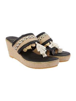 Black-Beige Leather and Jute Wedges with coin embellishments