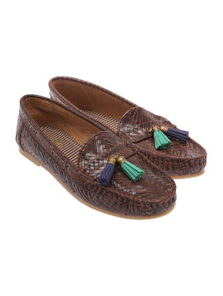 Brown-Green Leather Shoes with tassels