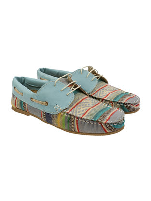 Blue-Multicolored Jacquard and Leather Shoes