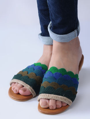 Blue-Green Handcrafted Jute and Felt Flats