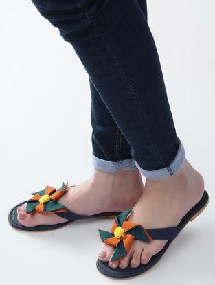 Blue-Orange Handcrafted Flats with Felt Embellishment