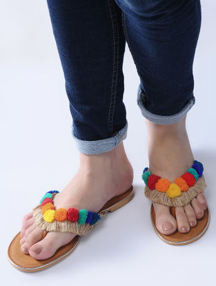 Tan-Multicolored Handcrafted Jute Flats with Wool Pom-poms and Fringes