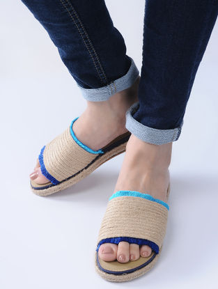 Beige-Blue Handcrafted Jute Flats with Silk Thread Frills