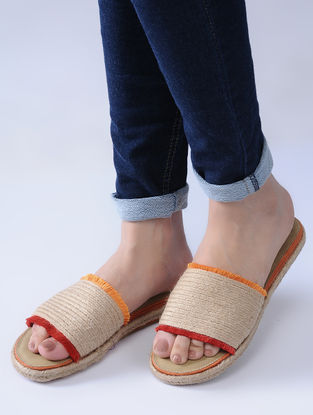 Beige-Red Handcrafted Jute Flats with Silk Thread Frills