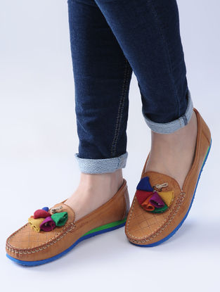 Tan-Multicolored Handcrafted Loafers with Felt and Jute Tassels