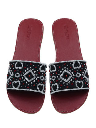 Maroon-Multicolored Handcrafted Flats