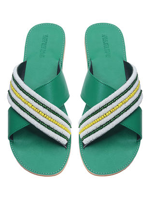 Green-Multicolored Handcrafted Flats