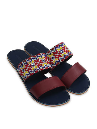 Navy Blue-Multicolored Handcrafted Flats