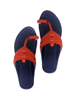 Blue-Orange Handcrafted Leather Flats
