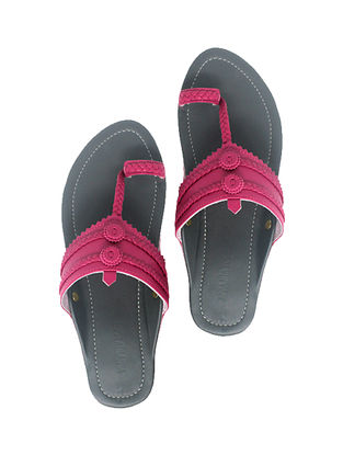 Grey-Pink Handcrafted Leather Flats
