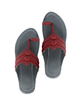 Grey-Maroon Handcrafted Leather Flats