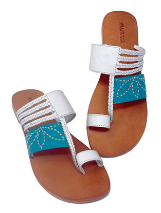White-Blue Handcrafted Leather Flats