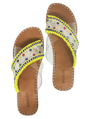 Yellow-White Handcrafted Flats With Coins