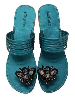 Blue Handcrafted Metallic Flats