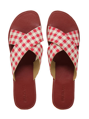 Maroon-White Handcrafted Checkered Flats