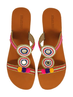 Tan-Multicolored Handcrafted Flats