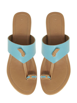 Blue Handcrafted Leather Flats