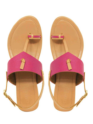 Pink Handcrafted Leather Flats with Back Strap