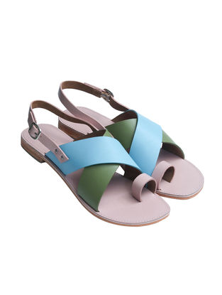 Pink -Blue Handcrafted Softie Leather Flats