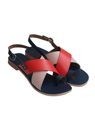 Blue-Red Handcrafted Softie Leather Flats