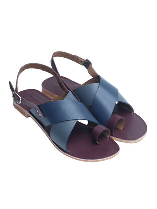 Burgundy-Blue Handcrafted Softie Leather Flats