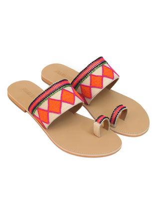 Orange-Nude Handcrafted Flats