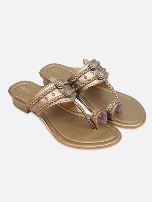 Gold Handcrafted Kohlapuri Box Heels