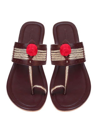 Burgandy Handcrafted Leather Box Heels