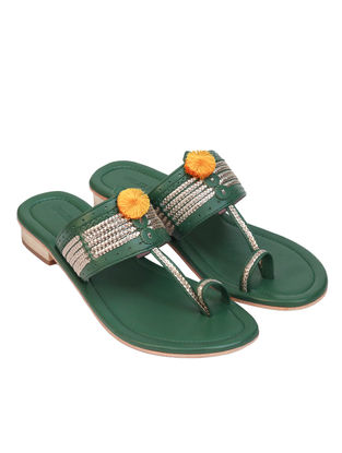 Green Handcrafted Leather Box Heels