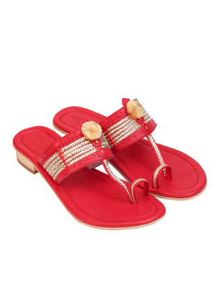 Red Handcrafted Leather Box Heels