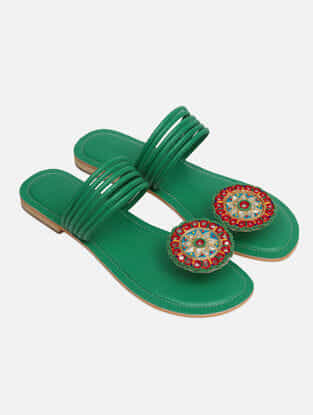 Green Handcrafted Flats