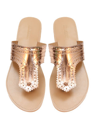 Rose Gold-Beige Handcrafted Flats