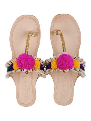 Cream-Multicolor Leather Flats with Shell Beads and Pom Poms