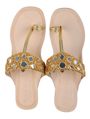 Cream-Golden Leather Flats with Gota and Mirror Work