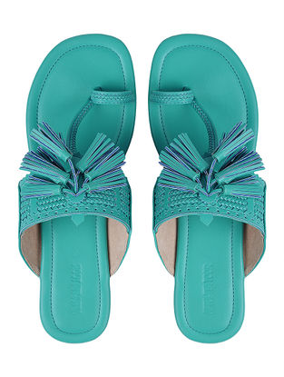 Blue Kolhapuri Flats with Tassels