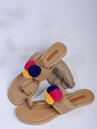 Beige-Multicolor Kolhapuri Flats with Pom-Poms